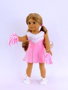 Cheerleading Outfit, PinkWhite - clothes for American Girl® and other 18 inch dolls - sportswear, pom poms