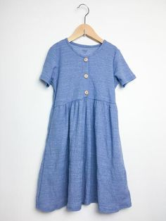 Re-Cycle Blue Gauze Dress with Buttons Flowery Dresses, Baby Fish, Cycling News, Kid Closet, Gauze Dress, Short Sleeve Dresses, Long Sleeve, Gingham, Kids Outfits