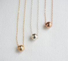 Gehamerd Ball Ketting, Rose Gold bal ketting, Gold bal ketting, sterling zilveren bal ketting