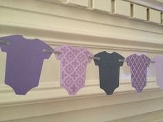 Baby Banner Onesie Garland Baby Shower Decor by PaperStrip on Etsy - can ask for pink and lavendar only...