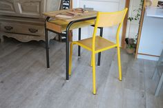 IMG_3425 Decoration, Corner Desk, Furniture, Home Decor, Glass Display Case, School Desks, Repainted Table, Yellow Chairs, Painted Furniture
