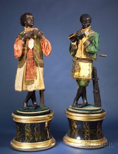Exceptional Pair of Life-Sized Jean Roulet Blackamoore Musician Automata | Sale Number 2383, Lot Number 645 | Skinner Auctioneers