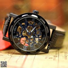 ONLY 18$, Mens Mechanical wristwatches Steampunk Watch Black & Blue Hollow Dial Hand-winding Sport Watches