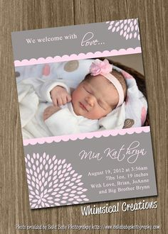 Sweet Baby Girl Birth Announcement Digital by WhimsicalCreationsPC, $14.99