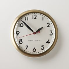 Kennedy Clock with natural brass case and white face | handmade in our Portland, OR factory