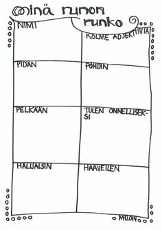 """Minä-runon runko (oppilas vastaa laatikoihin, tämän jälkeen runon voi kirjoittaa """"puhtaaksi"""" aloittamalla laatikon sanalla)."""