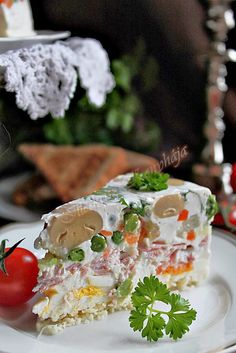 Hidegtál torta Cold Dishes, Main Dishes, Table Decorations, Cake, Desserts, Food, Meat, Cold Side Dishes, Main Course Dishes
