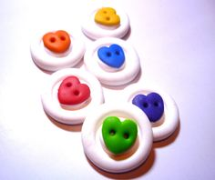 Polymer clay buttonsHeart shaped buttonsRound by JustFingerPrint, $8.00