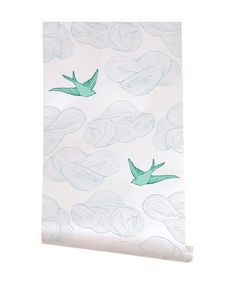 J & J Modern Kids - Sky and Mint Sweet Little Sparrow Wallpaper