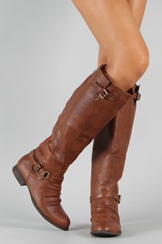 Stella-1 Ruched Buckle Riding Knee High Boot.  Want!!