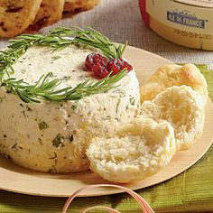 Herbed Cheese Spread~ fresh chives, parsley, and tarragon flavor this appetizer cheese spread that's made with feta and cream cheese. {garnish with a wreath of fresh rosemary springs and dots of dried cranberries for a festive, holiday look}.