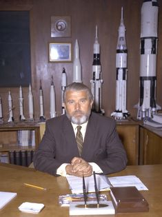 Wernher von Braun (March 23, 1912 - June 16, 1977) in his new office at Nasa Headquarters 1970 during the Apollo Moon landings era.