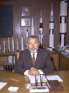 Wernher von Braun (March 23, 1912 - June 16, 1977) in his new office at Nasa Headquarters 1970 during the Apollo Moon landings era.