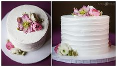 Pretty white single layer cake with pretty florals on it at the Pines at Genesee in Colorado. - April O'Hare Photography http://www.apriloharephotography.com #ColoradoWedding #PinesatGenesee #MountainWedding #MountainWeddingReception #ColoradoMountainWedding #WhiteandPurpleWeddingCake
