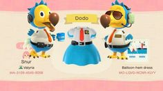 cute animal crossing outfits new horizons Animal Crossing Paths, Animal Crossing Funny, Animal Crossing Qr Codes Clothes, Animal Crossing Pocket Camp, Animal Games, My Animal, Anime Animals, Cute Animals, Fruit Animals