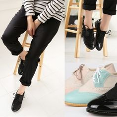 Two Tone Color Mix Middle Heel Lace Up Oxfords | Danischoice.comShop for lovely women's clothes | Danischoice.com
