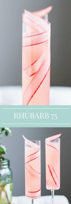 Rhubarb Cocktail | French 75 | Spring Recipe | Champagne | Mother's Day | Brunch Drinks #Champagne