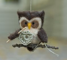 Needle Felted Crocheting Owl Ornament