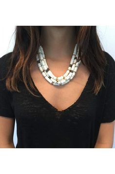 Nomad Statement Necklace by Stella & Dot - available June 2nd!  Bold and versatile. Vintage gold edgy drops contrast against a mix of hand-strung neutral and hematite beads. Individual gold strand detaches to create a beautiful neutral beaded necklace, or wear the vintage gold strand alone.