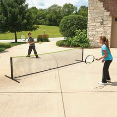 This is the freestanding tennis set that instantly creates a court on a driveway, patio, or any hard, flat surface.