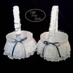 CE_80 Cestas Blanca Verde #bodas para arras anillos o petalos