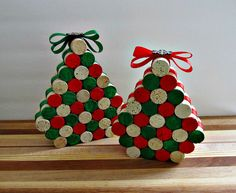 Wine Cork Christmas Trees  Set of 2  Snowflake by LizzieJoeDesigns