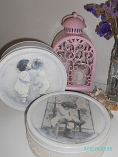 ALROMASAR: Latas de galletas recicladas Clever Diy, Decoupage, Decorative Plates, Scrapbooking, Vintage, Cookie Tin, Recycled Tin Cans, Canisters, Decorated Boxes