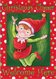Christmas Elf 28 Inch X 40 Inch Large Decorative Flag Christmas Cheer Welcome Here >>> You can find out more details at the link of the image. Christmas Tree Bows, Christmas Gingerbread, Xmas Ornaments, Christmas Elf, Xmas Tree, Vintage Christmas, White Christmas, Flag Pole Stand, Mailbox Covers