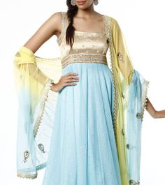 Blue & Yellow Anarkali