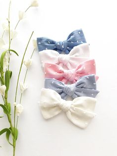 Buy Now Spring Baby Bows - Swiss Dot Baby Headbands - Easter Bows - Pastel Baby Bow -Bow Headbands - Bow Clips -Oversized School Girl Swiss Dot Bows by CollectiveCreationsC. Diy Hair Bows, Diy Bow, Bow Hair Clips, Baby Girl Bows, Girls Bows, Diy Headband, Bow Headbands, Hairbows, Vintage Pink