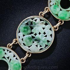 Vintage Carved Jade Bracelet - 40-1-4498 - Lang Antiques