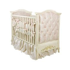 AFK's French Panel Upholstered, shown in Versailles Creme Finish with Gold Gilding and upholstered in our stunning Pink Damask Fabric (#0122).  Choose from any of our AFK Fabrics and Finishes to create a custom crib for your precious baby.  #crib #nursery #afk