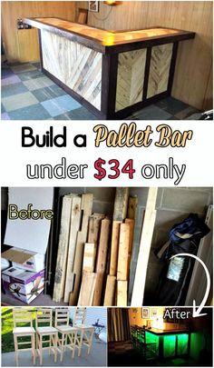 DIY Tutorial – Pallet Bar under $34 - 150 Best DIY Pallet Projects and Pallet Furniture Crafts - Page 27 of 75 - DIY & Crafts