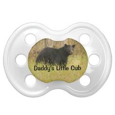 Black Bear Hunting Funny Daddys Little Cub This cute and funny baby pacifier features wildlife nature photography of a black bear in the Great Smoky Mountain National Park with black text and a natural camouflage green and brown color background and some hunting humor - daddys little cub ! Great for the baby son or daughter - infant of a hunter, hunting guide, outdoors man or woman, sportsman or animal lover. Great baby shower gift.