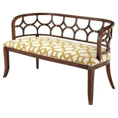 """Check out this item at One Kings Lane! Zoe 53"""" Bench, Gold/White"""