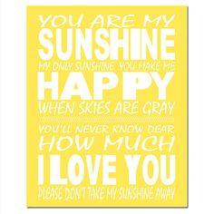 SALE  You Are My Sunshine My Only Sunshine  8x10 Print by Tessyla, $12.50