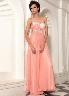 Charming Pink Chiffon One Shoulder Lace Rhinestone Womens Prom Dress. Charming Pink Chiffon One Shoulder Lace Rhinestone Womens Prom Dress. See More One Shoulder at http://www.ourgreatshop.com/One-Shoulder-C935.aspx