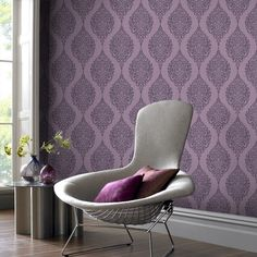 30 Awesome Purple Living Room Wall Color Ideas You Have To Copy – GooDSGN ideen wandgestaltung grau lila 30 Awesome Purple Living Room Wall Color Ideas You Have To Copy Plum Wallpaper, Feature Wallpaper, Metallic Wallpaper, Wallpaper Decor, Home Wallpaper, Embossed Wallpaper, Wallpaper Roll, Bedroom Wallpaper Purple, Closet Wallpaper