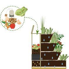 Easy Jardin – Potager composteur Easy Jardin 800 by DrJonquilleMrAil Home Vegetable Garden Design, Small Vegetable Gardens, Garden Care, Garden Beds, Balcony Garden, Garden Compost, Herbs Garden, Kinds Of Vegetables, Garden Planning