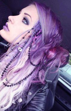 Festooned purple hair