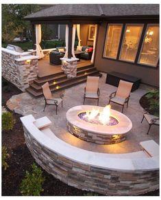 Backyard Ideas For Small Yards, Small Backyard Patio, Fire Pit Backyard, Diy Patio, Budget Patio, Patio Wall, Fire Pit Off Patio, Patio Ideas With Fire Pit, Deck With Fire Pit