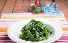 Σαλάτα με πράσινα φασολάκια και βινεγκρετ μέντας Green Beans, Vegetables, Cooking, Food, Cucina, Veggies, Kochen, Essen, Vegetable Recipes