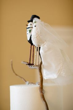 Vintage Bird Wedding Cake Toppers