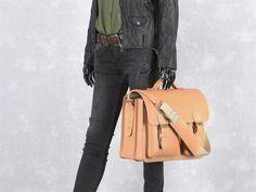 Aktentasche Herren Damen Leder mit 2 Fächern natur braun Lehrertasche Businesstasche Arbeitstasche Tasche Notebooktasche