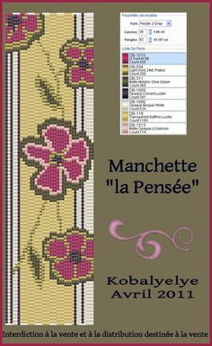 Manchette_fleurie_rouge_et_marron