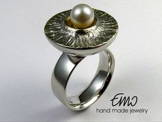 Ring with pearl. Unique silver ring. Handmade jewelry.