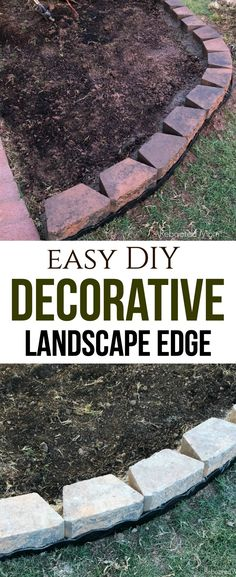 How to create a long-lasting, decorative landscaping edge with just a few simple materials and a few hours in an afternoon. Brick Garden Edging, Cement Garden, Landscape Bricks, Landscape Edging, Landscaping Blocks, Landscaping Plants, Diy Garden Bed, Easy Garden, Above Ground Pool Slide