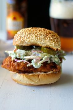 Fried Chicken with Jalapeno Cole Slaw and Spicy Mayo