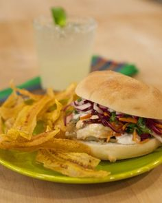 Pollo con Queso Tortas - These hot and hearty Mexican sandwiches are stacked with chicken breast, roasted poblano peppers, sauteed onion, cheddar and Monterey Jack cheeses, and crunchy jicama slaw. Drizzle the sandwiches with crema (Mexican sour cream) and serve with plantain chips.