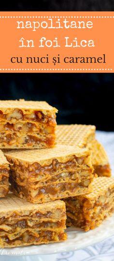 Rețeta simplă de napolitane cu cremă caramel în foi Lica. Cum se fac napolitanele de casă. Rețeta tradițională de prăjitură cu foi Lica. #bucatearomate #napolitane #foilica #caramel #cremacaramel #nuci #prajitura #desert Cake, Desserts, Meal, Recipes, Pie Cake, Cakes, Deserts, Dessert, Postres